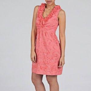 📦 Tiana B. Coral Cotton Ruffle Neck Sundress Sz 6